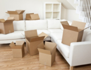 packing boxes in the living room