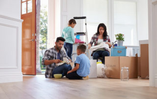 family packing items for their move
